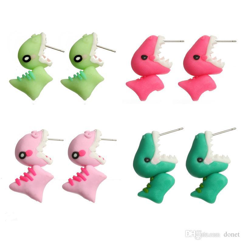Argila Do Polímero Feito À Mão Macio Bonito Dinossauro Brincos Animal Piercing Ear Stud Earring