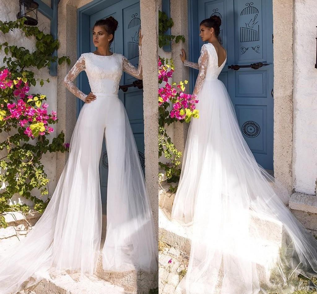 Boho Praia Modest Long Sleeve Jumpsuits vestido de casamento com trem destacável Lace Bohemian vestido de casamento vestidos de noiva Vestido de noiva