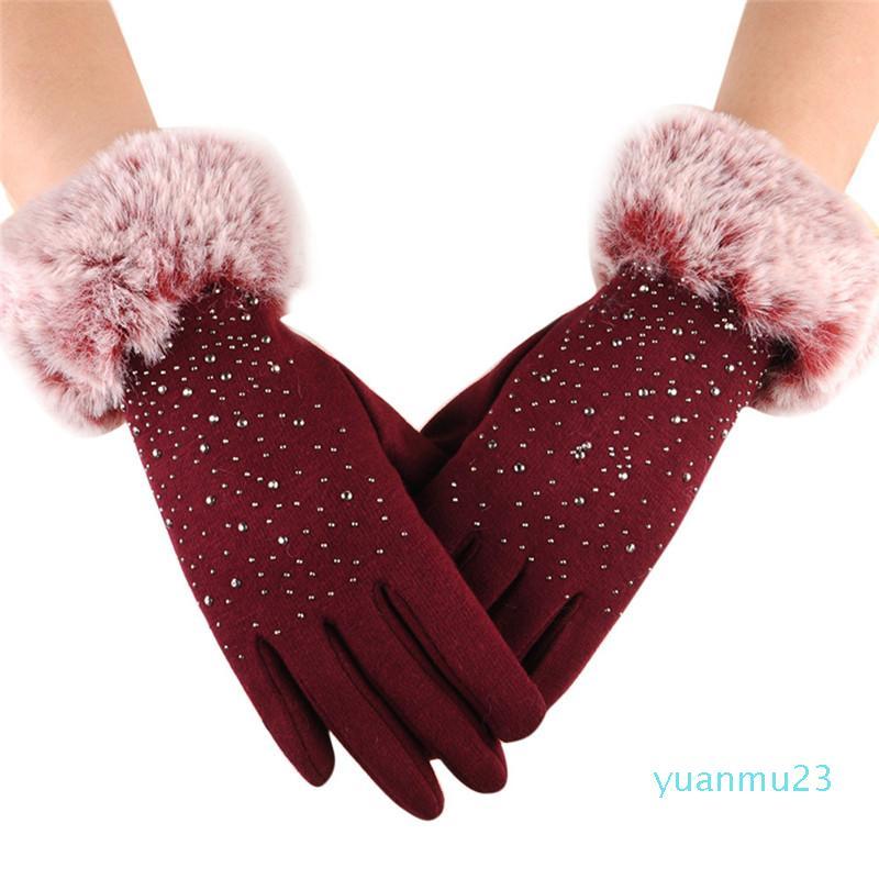 Wholesale-1 Coppia ragazze Coppie tutto il Finger Gloves Con schermo del diamante del polso Mittens tocco caldo di inverno di guida sci antivento guanto S10 SE12