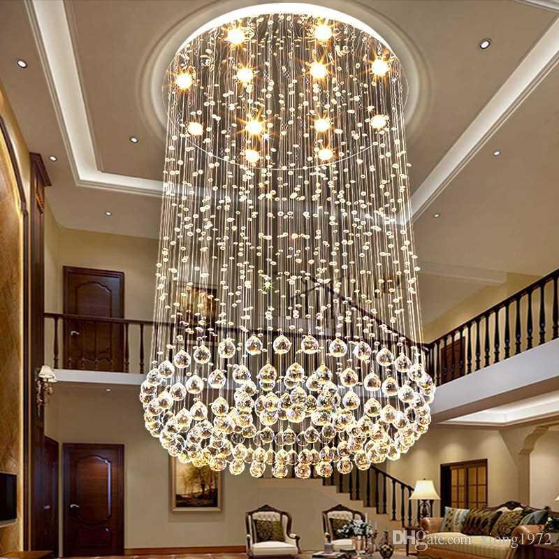 Modern minimalist hall duplex villa villa crystal living room chandelier luxury hollow picking three-story mid-floor lamp. K9 clear crystal.