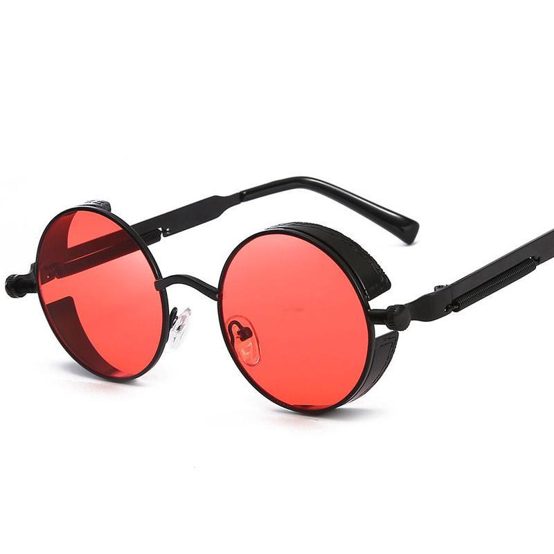 Мода круглый стимпанк солнцезащитные очки бренд дизайн женщины мужчины старинные пара панк солнцезащитные очки UV400 оттенки