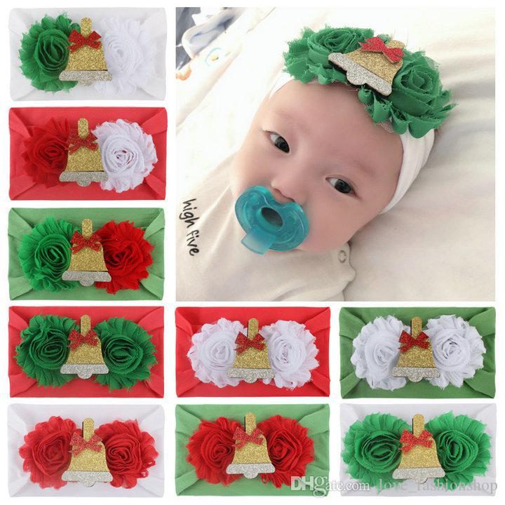 9 estilos vendas del bebé de navidad de santa accesorios para el cabello cintas para el pelo hechos a mano apliques diseñador de nylon de dibujos animados flor headwear Pañuelos