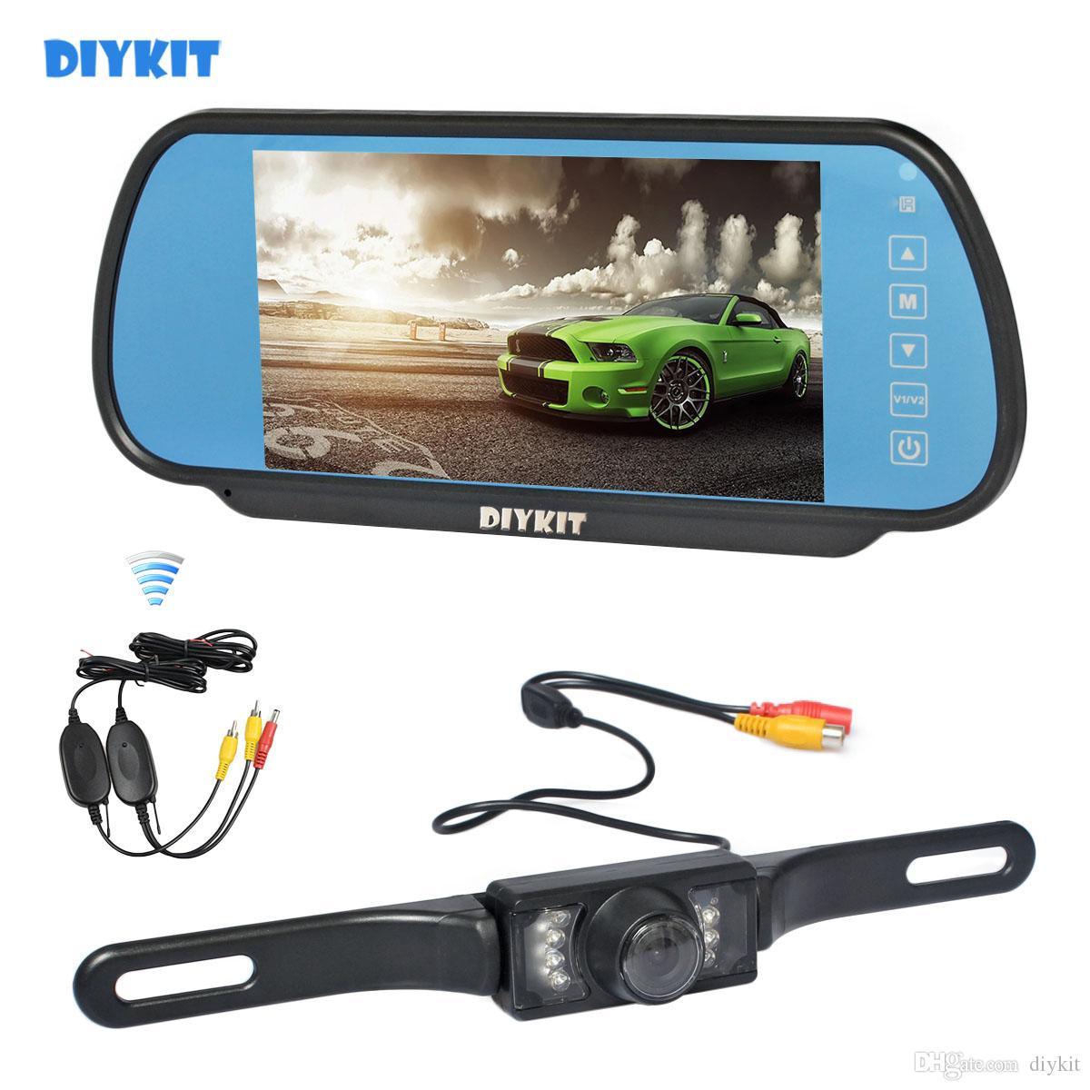 Parking System DIYKIT cámara inalámbrica de visión nocturna por infrarrojos CCD de visión trasera del coche con coche de 7 pulgadas monitor del espejo retrovisor