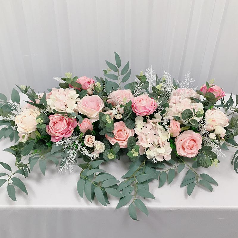 HVAYI 인공 장미 꽃 행 작은 코너 꽃 테이블 러너 분홍색 실크 가짜 꽃 웨딩 DIY 홈 화환 장식 플로레스