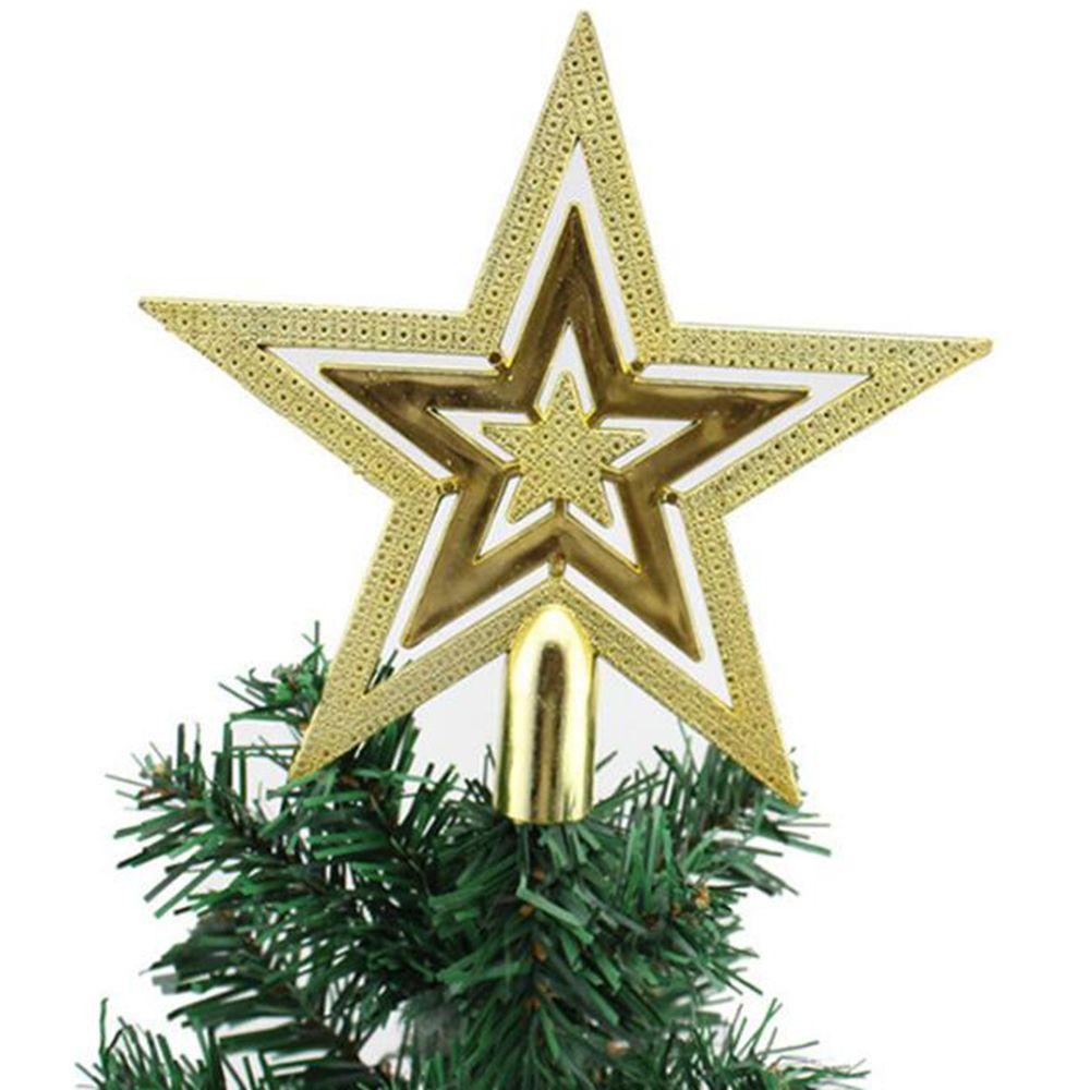 Decoración del árbol de Navidad Primeros chispa Estrellas Cuelgue de Navidad del ornamento copa de árbol de Navidad Topper Suministros árbol de Navidad Decoración