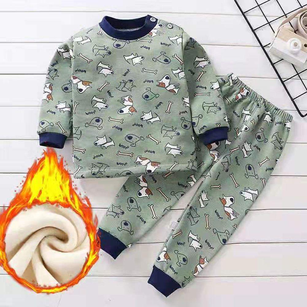 Children Plus Velvet Thickening Pajamas Baby Warm Clothing Set Long Sleeve Sleepwear Boys Girls Autumn Nightwear D4