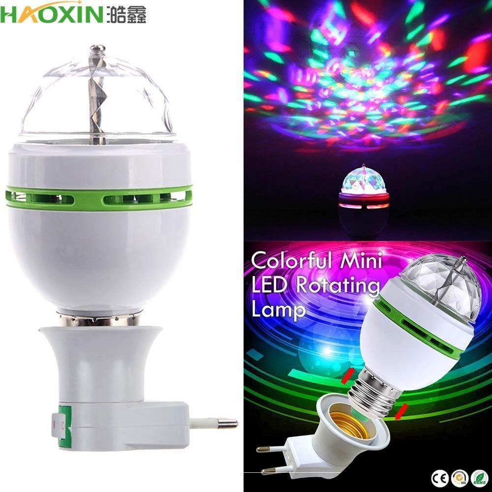 Haoxin جديد اللون الكامل 3W البسيطة E27 RGB LED مصباح السيارات الدوارة RGB LED دي جي ديسكو المرحلة إضاءة 85 -265v عطلة لمبة لبار KTV الإضاءة