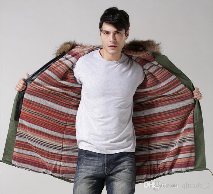 meifeng 브랜드 4XL 3XL 남성 모피 자켓 갈색 너구리 모피 트림 까마귀 따뜻한 코트 빨간색 줄무늬 면화 안감 군대 녹색 캔버스 긴 파카