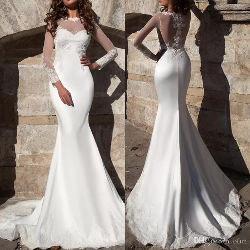 2019 새로운 우아한 깎아 지른 긴 소매 인어 웨딩 드레스 아첨 레이스 시폰 비치 신부 가운 vestidos de noivia