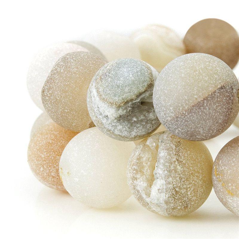 جولة Druzy العقيق الكوارتز الكريستال الألوان الطبيعية الأحجار الكريمة فضفاض الخرز صالح سوار أقراط القلائد 6 8 10 12 ملم