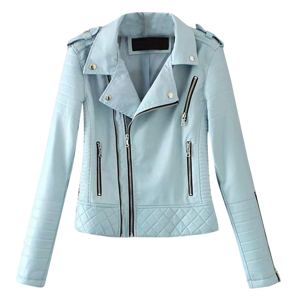 SAGACE Ladies casual lapel zipper female Long sleeve cool motor vehicle leather jacket Variety of loose styles 5 colors