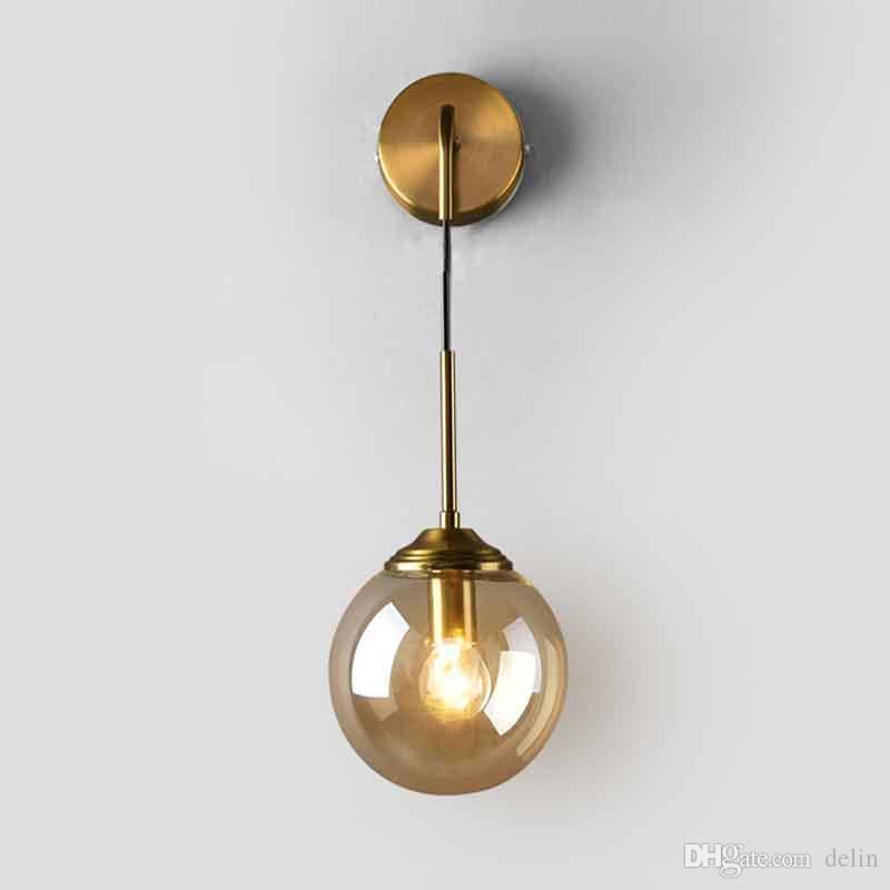 Sospensione Camera da letto della lampada da parete Magic Bean Comodini per le lampade da parete moderna Luce Ambra Grigio fumo paralume Illuminazione