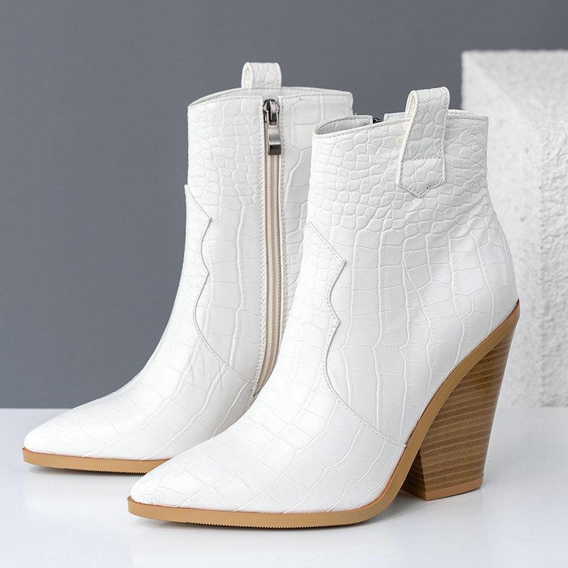 Sonbahar Bilek Boots Kadınlar Pu Deri Kamalar Yüksek Topuklar Batı Boots Sivri Burun Fermuar Moda Kış Kadın Boots Ayakkabı Kadın