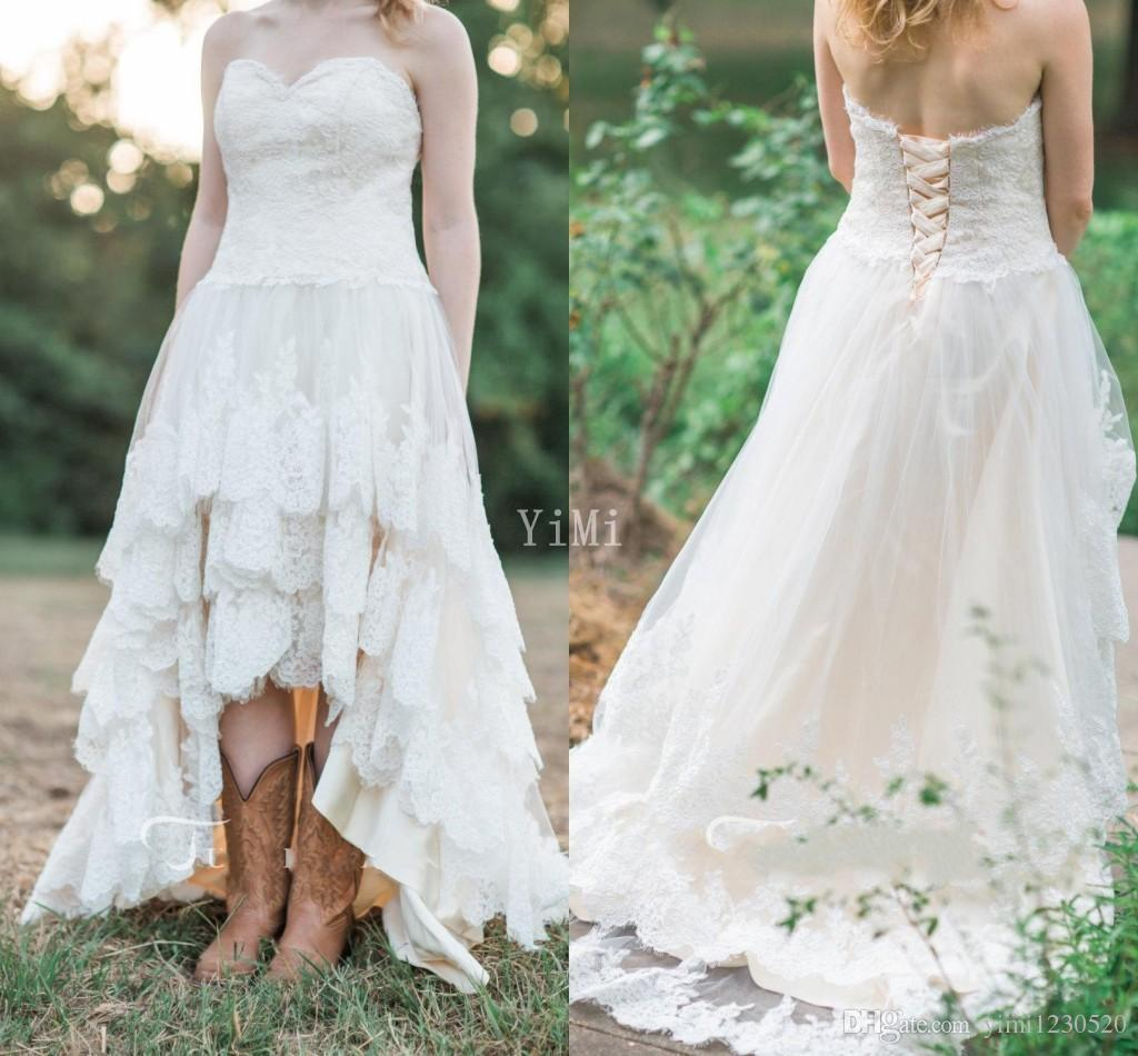 Discount High Low Wedding Dresses 2019 Sweet Heart Backless Appliques Hi Lo Country Garden Bridal Gowns Robe De Mariee Plus Size Cheap Ball Gown Dresses Bridal Collection From Yimi1230520 110 27 Dhgate Com