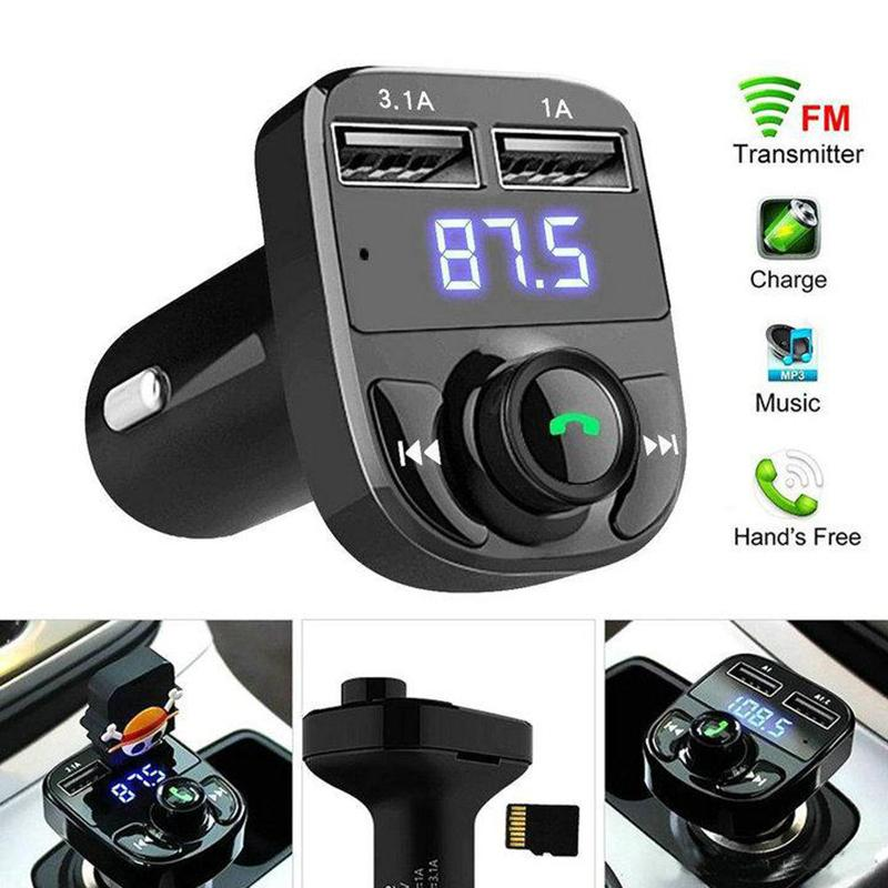 X8 Car FM Transmitter Aux Modulator Bluetooth Handsfree Audio Receiver MP3 Player 3.1A Quick Charge Dual USB with box package