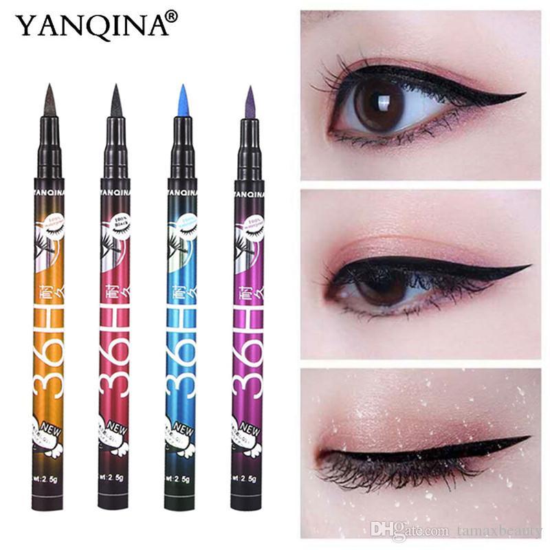 EB006 YANQINA 1BOX = 12p جيم كحل 36H الأسود للماء السائل كحل المكياج الجمال Comestics طويلة الأمد العين اينر قلم رصاص أدوات ماكياج