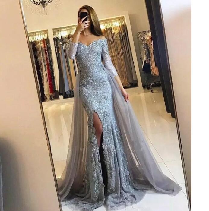 2020 chic Long mermaid Evening Dress off shoulder long sleeves with tulle detachabled train Formal prom Gowns cheap custom made
