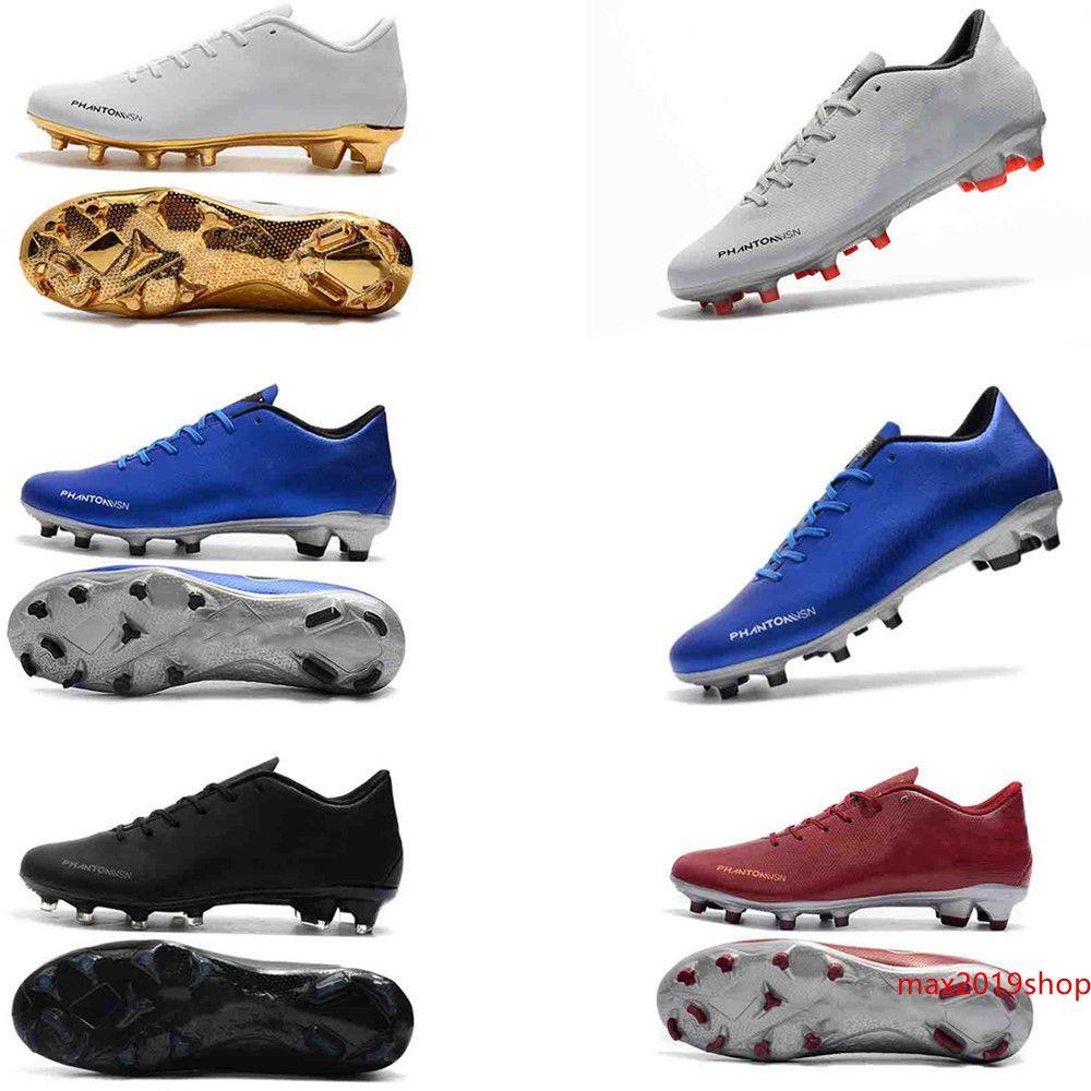 2019 Phantom Vision Elite FG DF Tacos de fútbol de cuero zapatos de fútbol para hombre calcetines sin cordones Phantom VSN BAJO FG Negro Oro Rojo botas de fútbol
