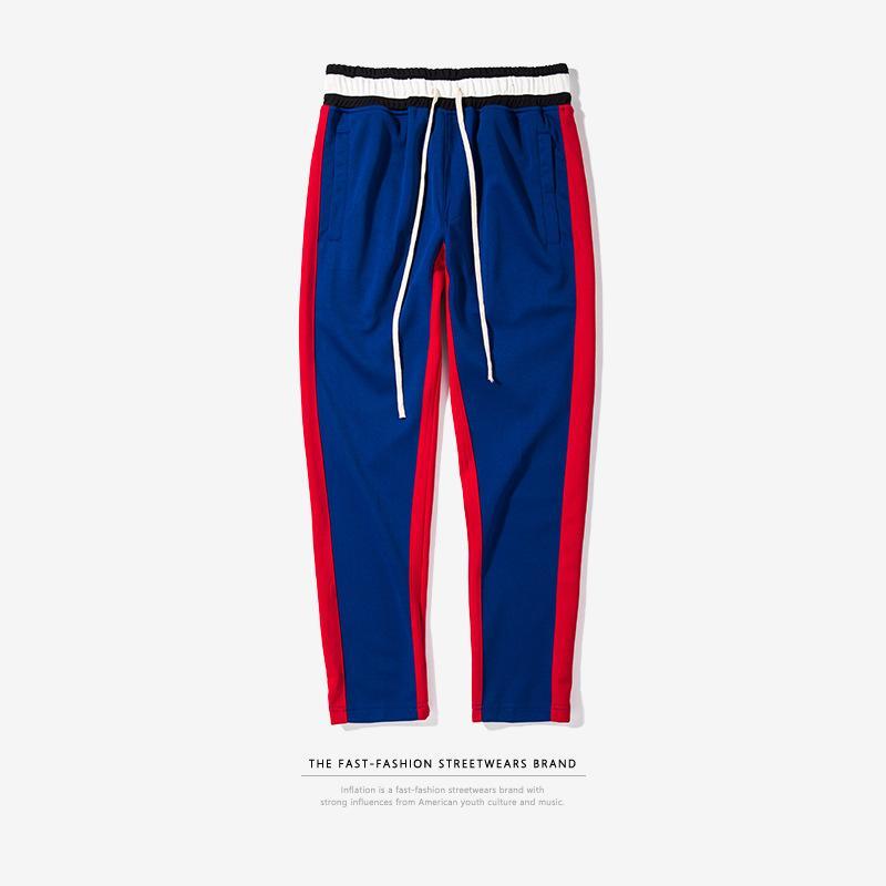 Primavera Estate Stripe Uomini Sciolti Pantaloni Casual Hip Hop Vintage Giapponese Streetwear Uomini Side Stripe Jogging Pantaloni Felpati Harajuku LC78