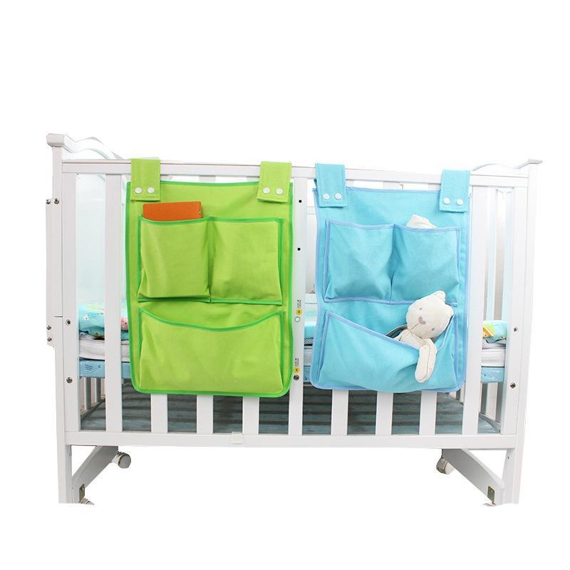 Nouveau-né Lit Hanging Sac de rangement Lit bébé Lit bébé Marque Coton Lit Organisateur 45 * 35cm Toy couches de poche pour Set pour lit de bébé