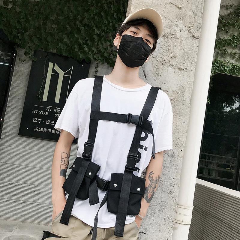 Adjustable Tactical Vest Streetwear Types Chest Rig Men Waist Bag Military Vest Pack Pouch Holster Two Way Radio Canvas Bag T200521