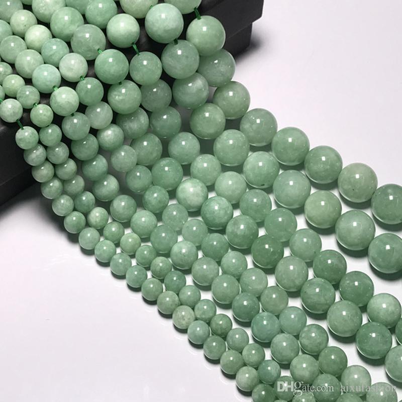 6/8/10/12mm cuentas de piedra de jade natural genuino de Birmania para hacer joyas DIY cuentas de jadeíta sueltas redondas collar de pulsera en forma
