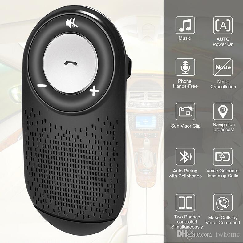 Newest Bluetooth 4.1 Car Kit Handsfree Wireless Bluetooth Car Speaker With Sun visor Clip Auto On/Off Support SIRI Two Phones Connect