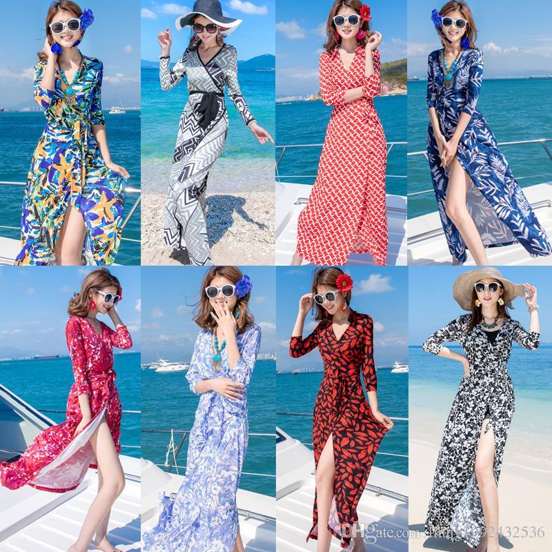 2019 nouvelle robe d'été de vacances balnéaire pour femmes cardigan crème solaire robe bohème wrap jupe fée jupe de plage