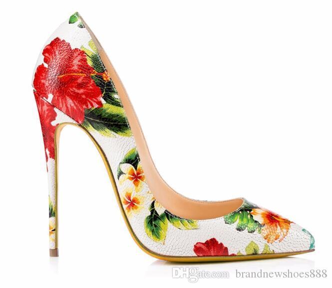 Große Größe 42 Zapatos Mujer 2019 Brautschuhe Floral Sexy High Heels Pumps Frauen Spitz Dünne Fersen Damen Schuhe So Kate