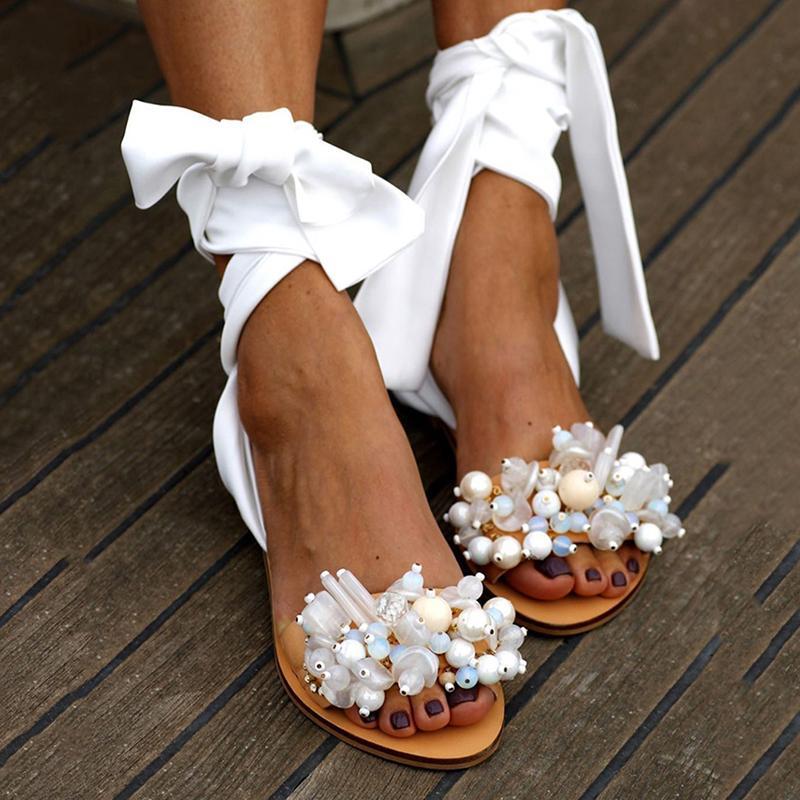 Plus Size 35-43 2020 Sandali estate delle donne per le scarpe da donna sandali piani della cinghia della caviglia in rilievo donne speciali Beach