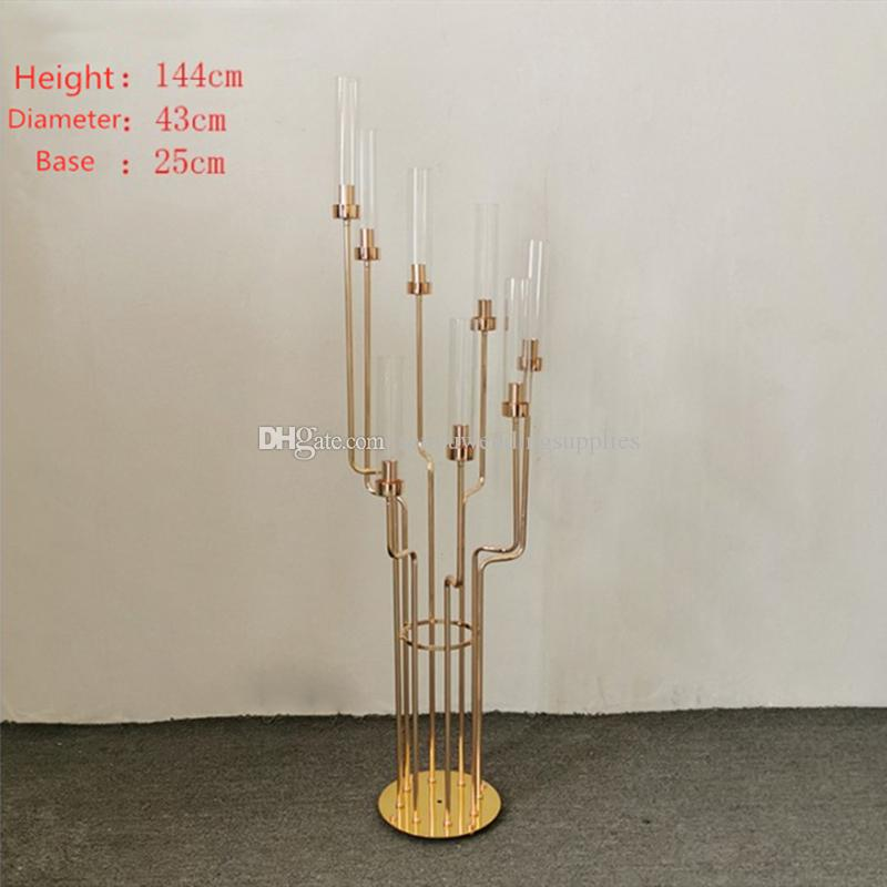144cm tall )new style Modern portable wedding metal gold event stage backdrop background round decoration custom display stand senyu0323