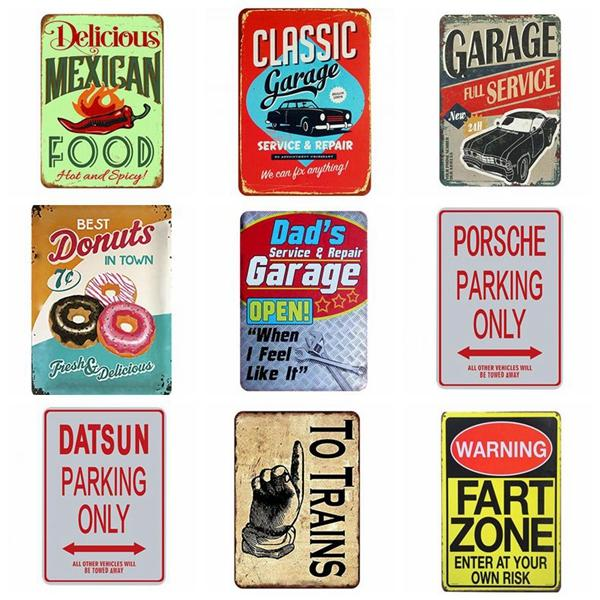 Oil Metal Signs Dad's Garage Wall Painting Metal Tin Sign 20x30cm Pub Club Gallery Poster Vintage Plaque Home Decor Motorcycle Tin Signs