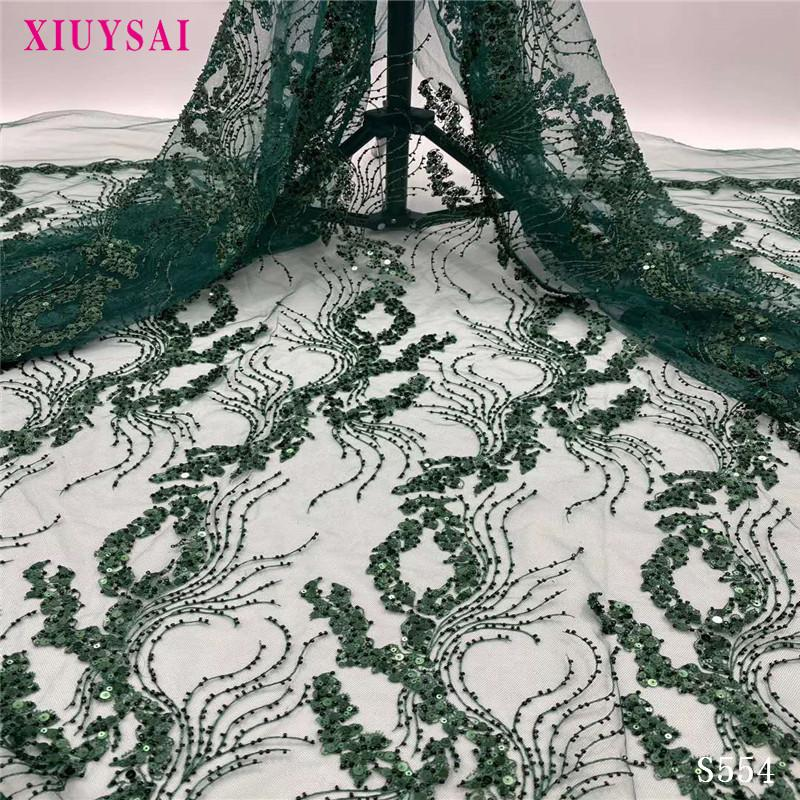 green Handmade Beads Lace Fabrics Embroidery African French Tulle Mesh Lace Fabric Heavy Beaded Fabric For Women S554