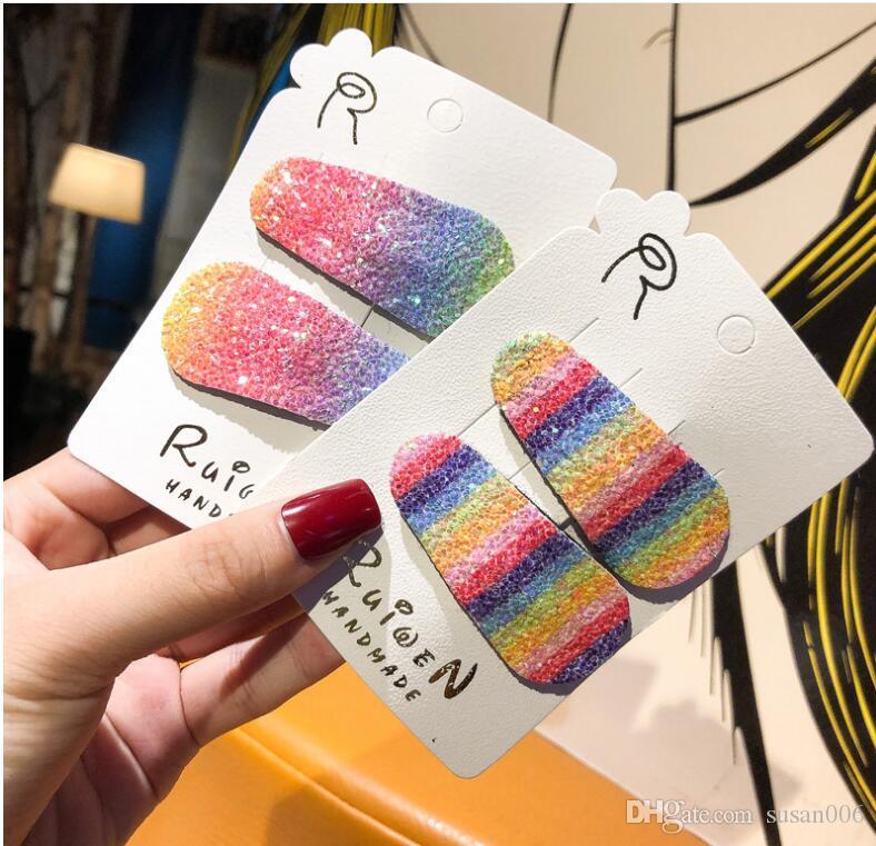 Colore dell'arcobaleno Bang clip glitter Mermaid Design BB Clip Clip Sfumatura di colore Barrettes dolce dei capelli delle ragazze