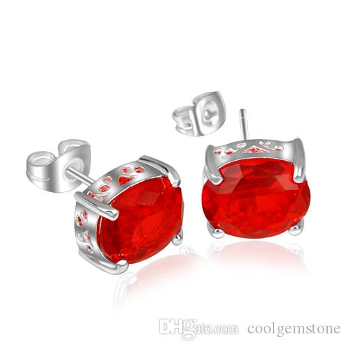 6 Pairs Luckyshine Superb Oval Shiny Red Quartz Gems 925 Sterling Silver Plated Stud Earrings Russia Canada Stud Earrings Jewelry E0112