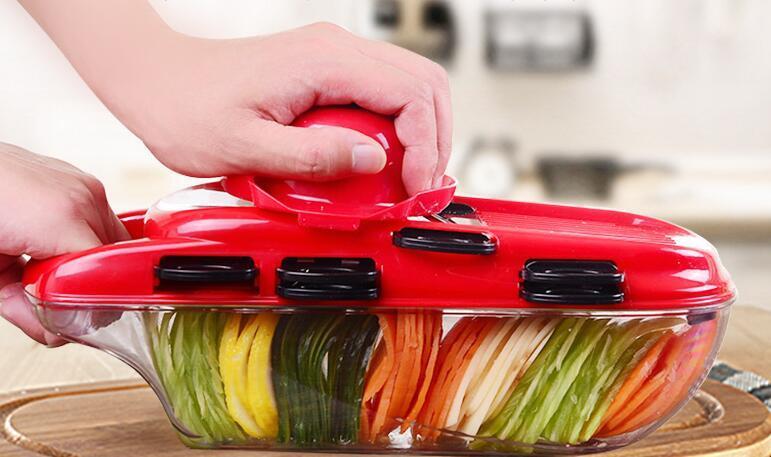 CORTAVERDURAS Accesorios de cocina Máquina de cortar la fruta del cortador de la patata policía de la zanahoria rallador de queso vegetales máquina de cortar la fruta Herramientas Vegetales