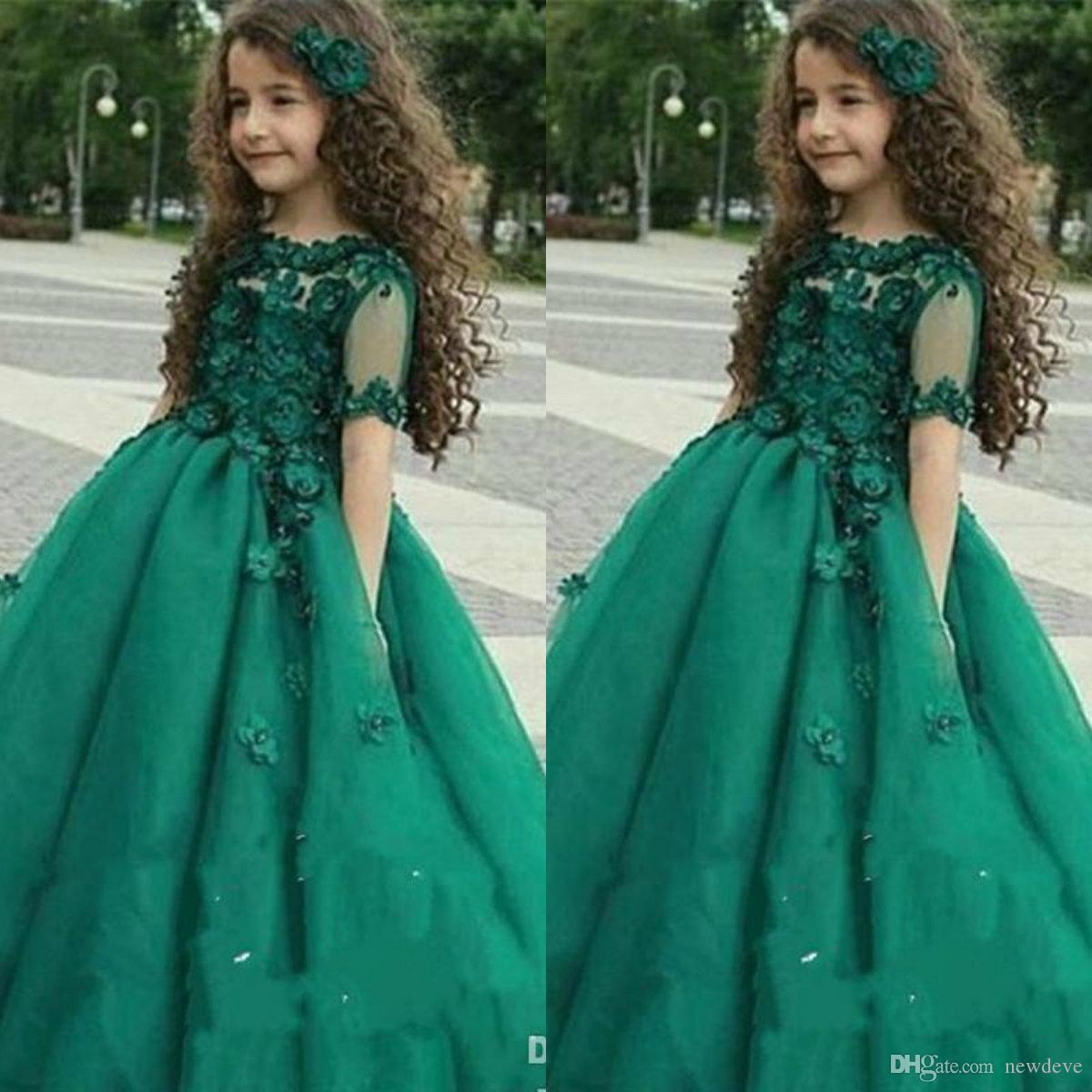2019 Girls Pageant Dresses Princess Hunter Green Lace 3D Floral Appliques Maniche corte Girls Girls Dress Tulle Bambini Abiti da sposa