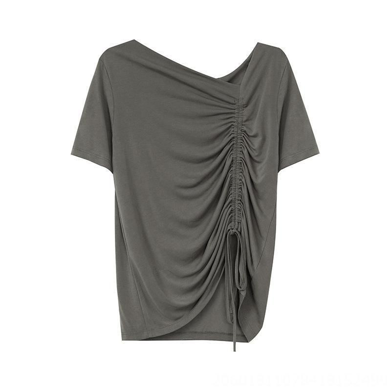 2020 Hong Kong style simple solide T-shirt couleur oblique col en V avec cordon de serrage T-shirt T066 femme à manches courtes modal mince
