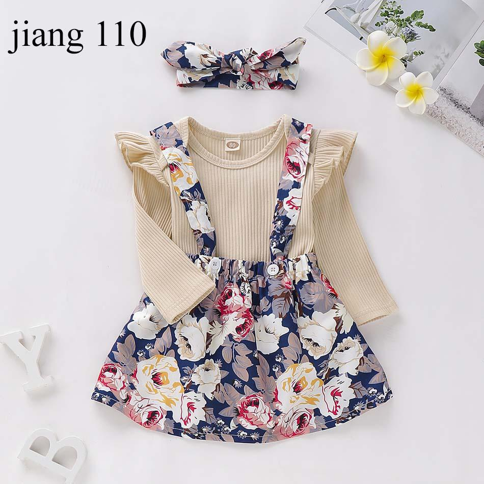 Baby Girls Clothing Sets Infant Girls Solid Long Sleeve Blouse Kids Designer Clothes Toddler Baby Outfits Floral Suspender Skirt Headband