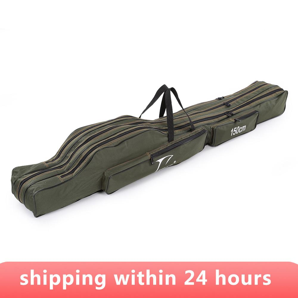 Bags FDDL 120 130CM 150CM Portable Folding Fishing Rod Bag Multi-purpose Carrier Canvas Fishing Pole Lure Tools Storage Bag Case