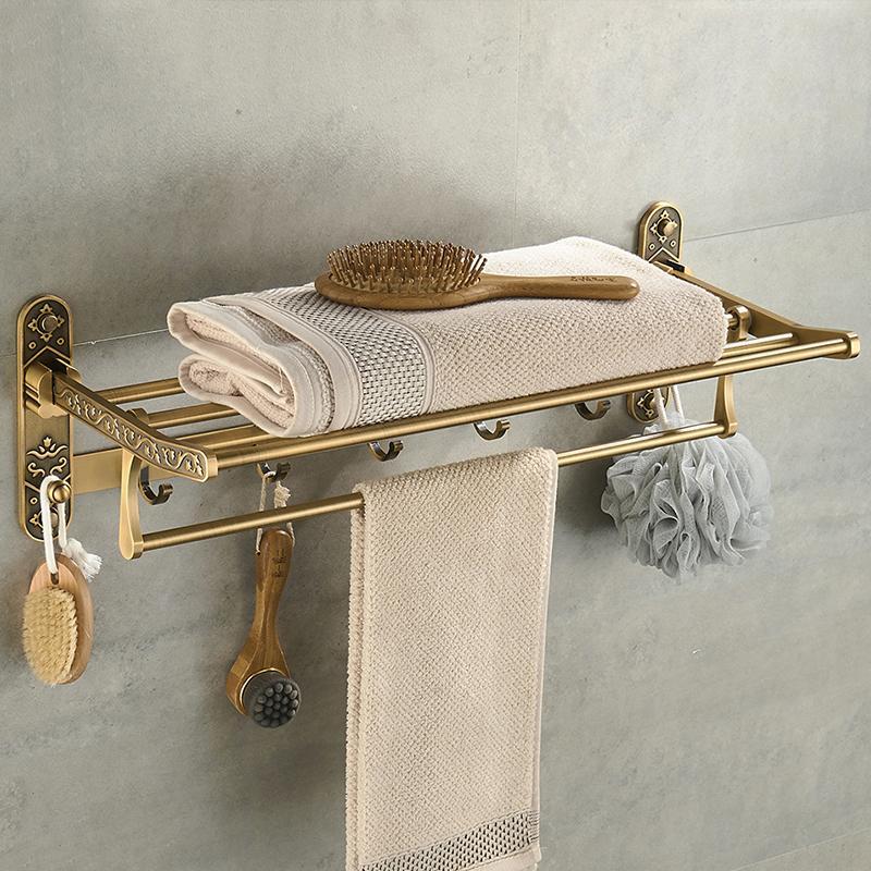네일 무료 접이식 골동품 황동 목욕 수건 활성 욕실 타월 홀더 더블 선반 후크 욕실 액세서리 랙