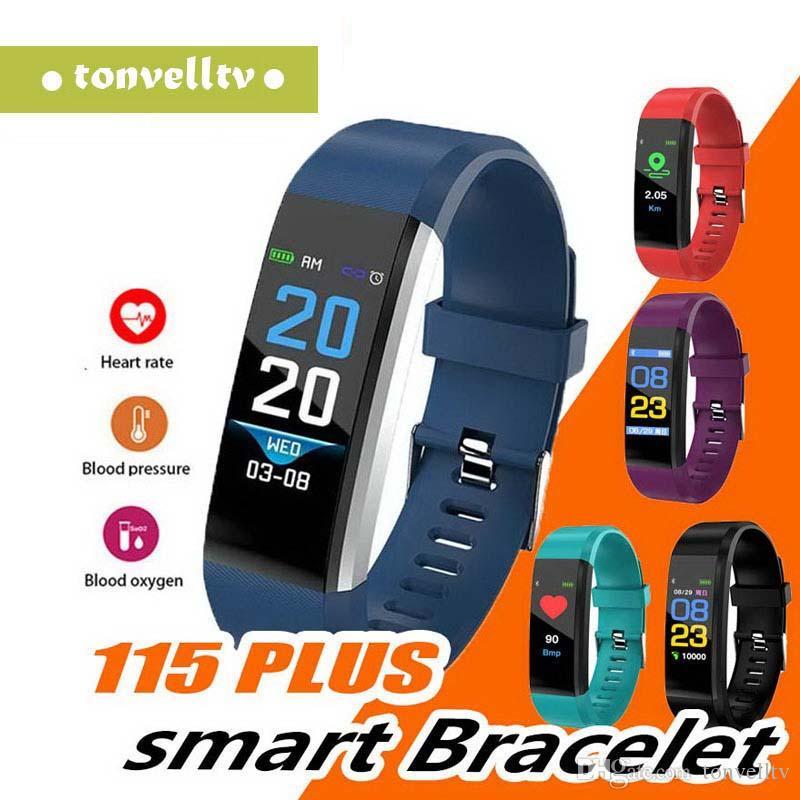 Monitor de la pantalla LCD ID115 pulsera inteligente Plus rastreador de ejercicios podómetro banda de reloj del ritmo cardíaco de la presión arterial inteligente Muñequera