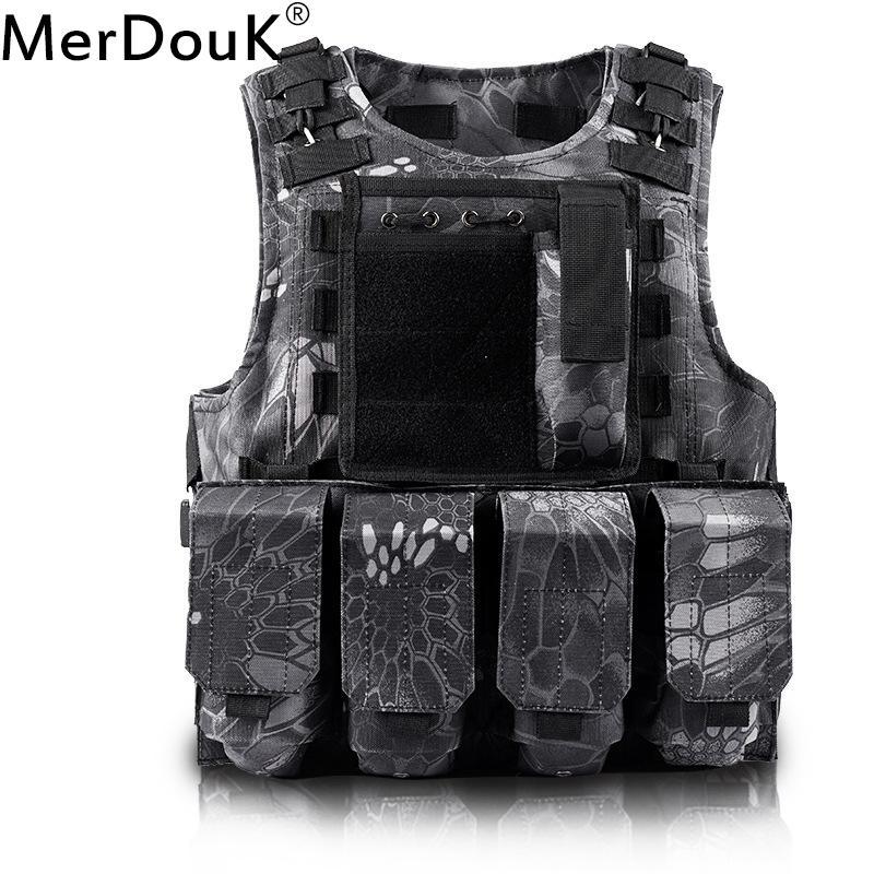 Descarregamento de placas Airsoft Tactical Vest Molle Vest Proteção Colete USMC soldado do combate Vest militar do exército Camuflagem portador S191019