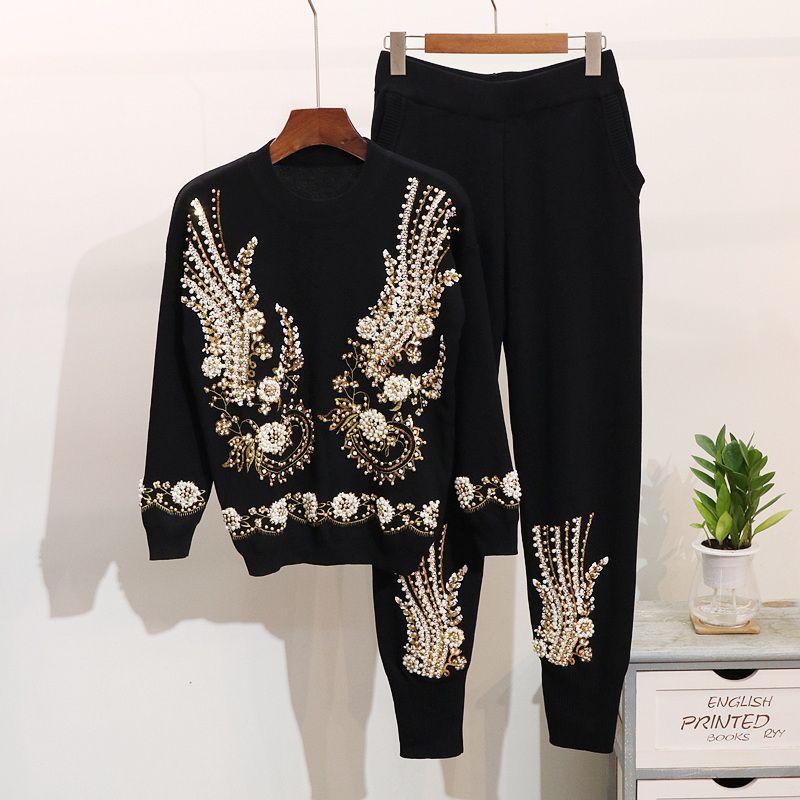Зима новая мода женщины вязаные наборы бисером блесток вышивка с длинными рукавами свитер Harlan ноги брюки костюм женщины