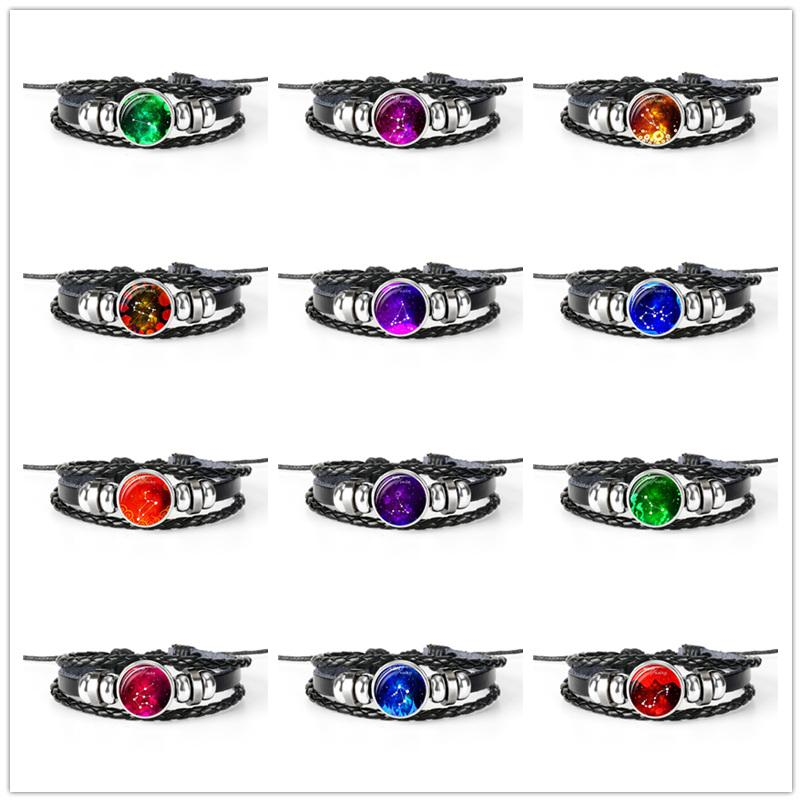 Fashion Punk Leather Rope Beaded Bracelets Classic 12 Constellations Zodiac Time Gem Glass Cabochon Charm Armband Jewelry For Women Men Gift