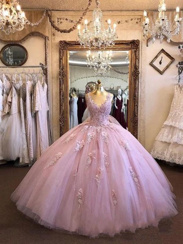 Pembe Balo Quinceanera Elbise Sweety V yaka Kat Uzunluk Tül Abiye Kabarık Prenses Custom Made Elbise Akşam Giyim