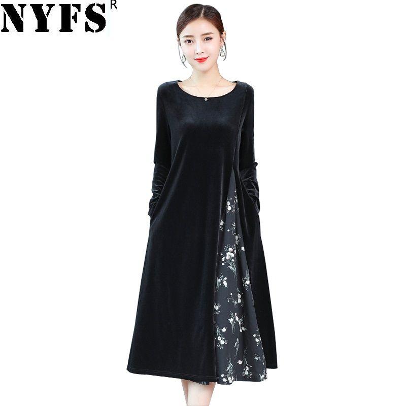 Commercio all'ingrosso 2018 New Spring Autumn Women Dress Vintage stampa allentata di velluto a coste abito lungo abiti abiti abiti M-3XL