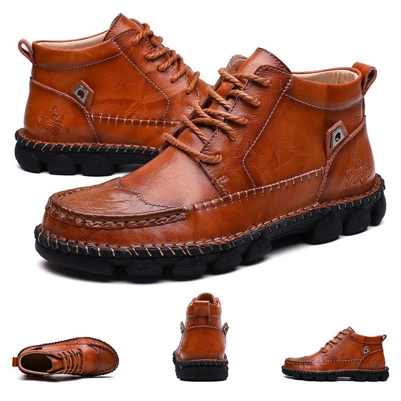 2020 Sıcak Tüm satış Sonbahar ve kış yüksek Erkekler deri pamuk ayakkabı siyah kahverengi kış tutmak sıcak pamuk botlar 40-47 ücretsiz kargo boyutu
