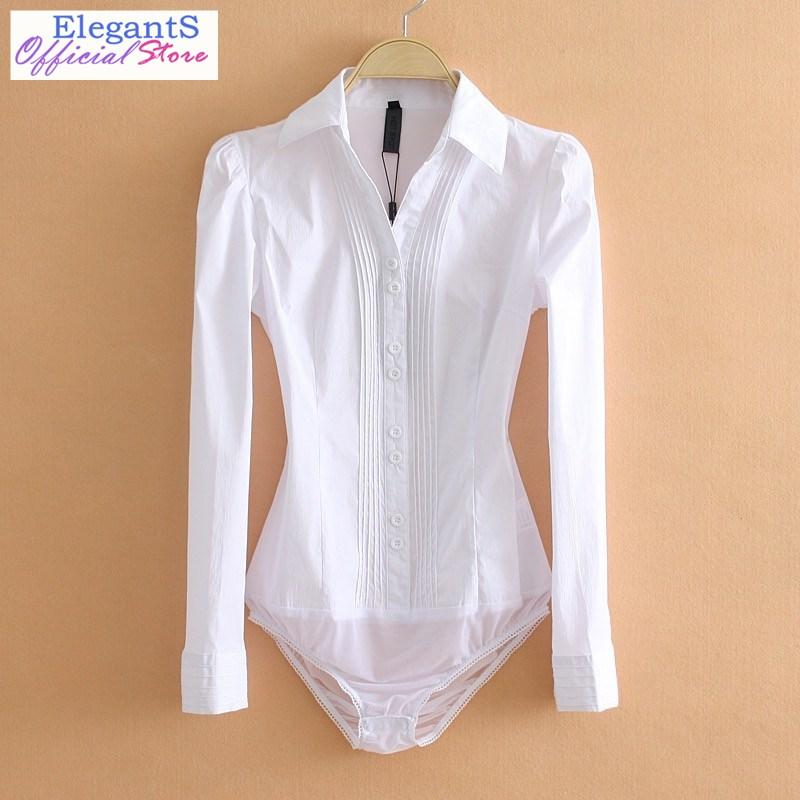 Women bodysuit Office Lady Work Bodycon White Body Shirt Blouse Female Long Sleeve Suits Shirts Turn Down Collar Tops 2019 XL