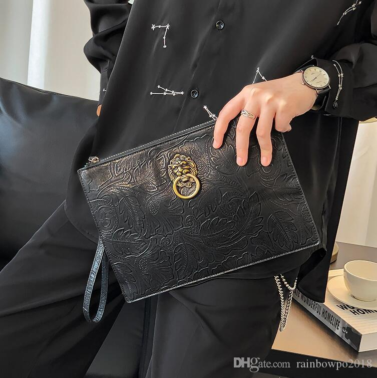 wholesale men handbag street trend rivet punk clutch bag new exquisite carved hand clutch bag personalized metal decorative fashion envelope